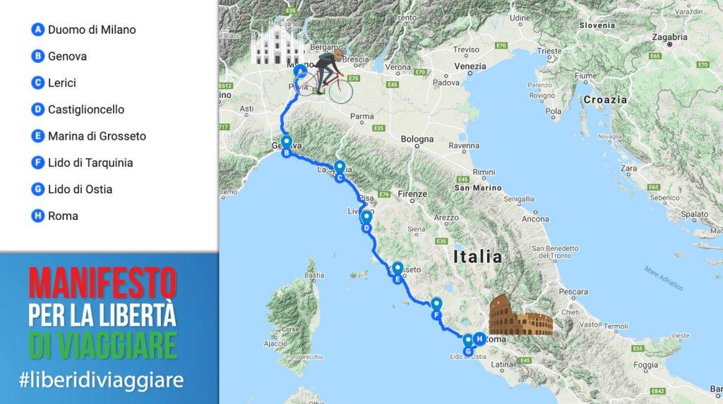 In Bici da Milano a Roma per salvare il Turismo